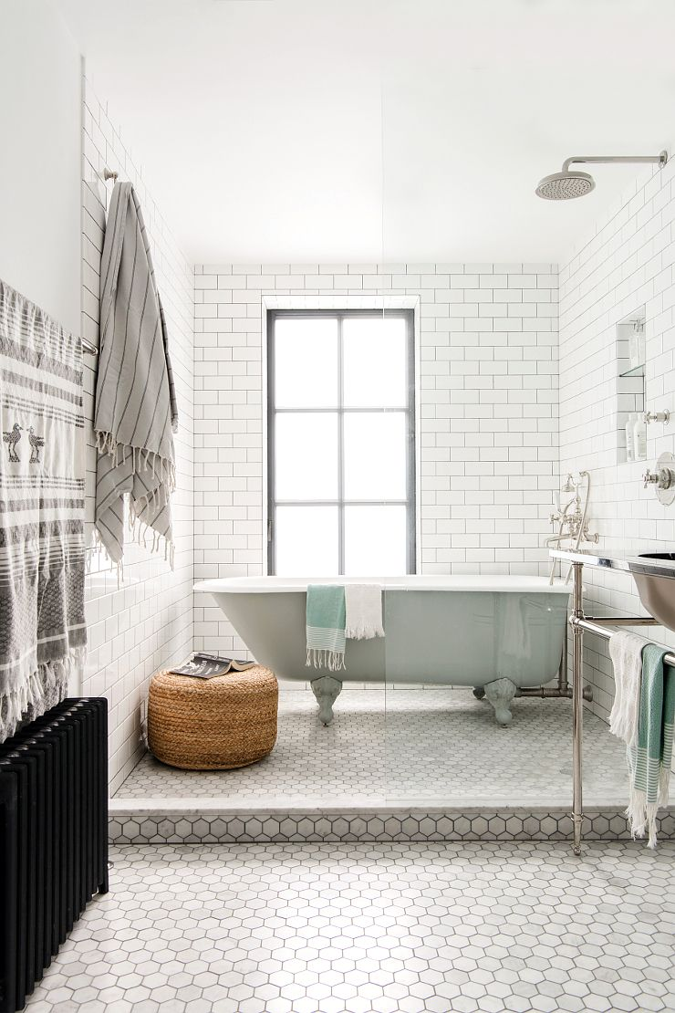 Subway and honeycomb white tile for bathroom | Bedroom | Pinterest ...