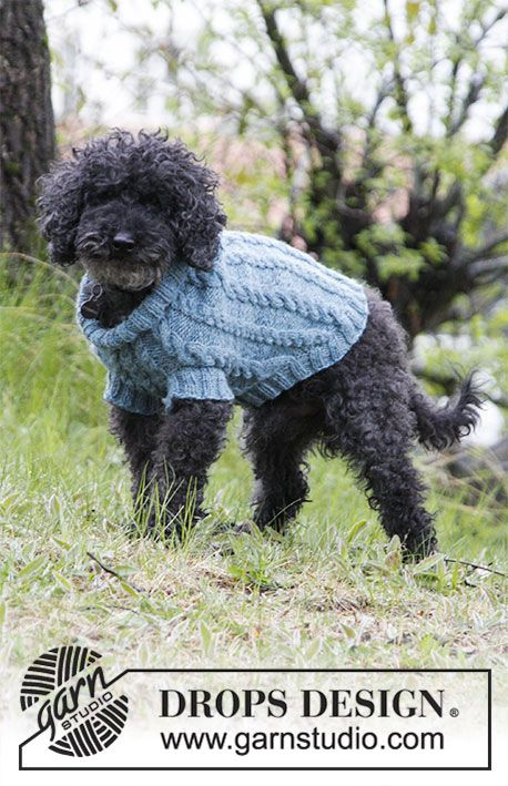 Barking Cables / DROPS 185-33 - Dog\'s knitted jumper with cables ...