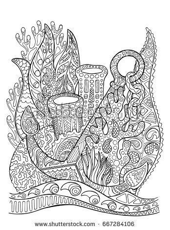 Anchor in coral reef adult coloring page. Underwater vector ...