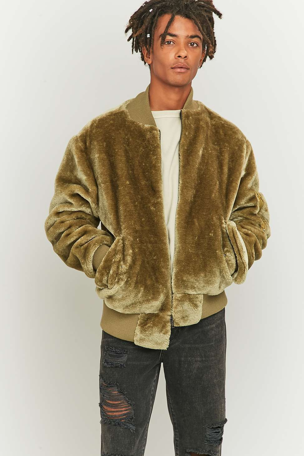 898777459 The New County Faux Fur Olive Bomber Jacket | Furry daze | Faux fur ...