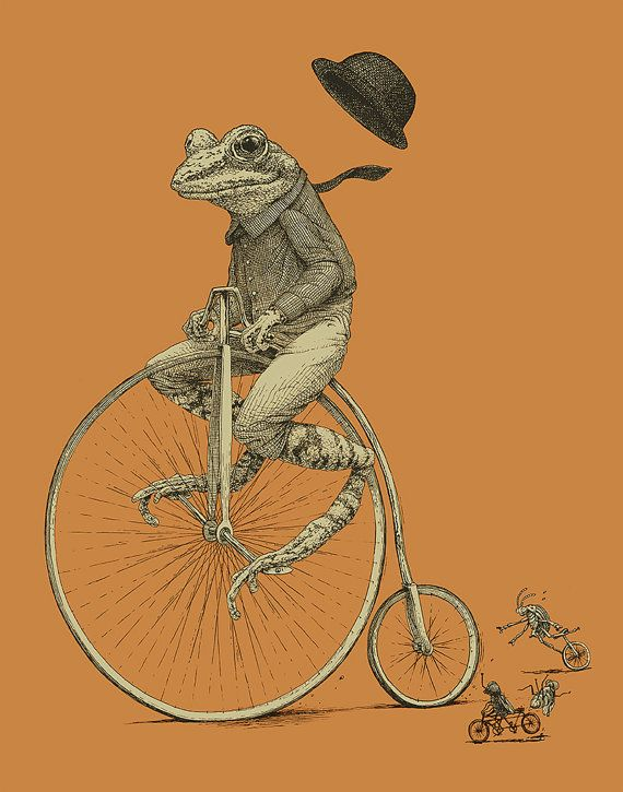 Grenouille sur limpression de vélo 11×14 Old Time Bicycle Art Print