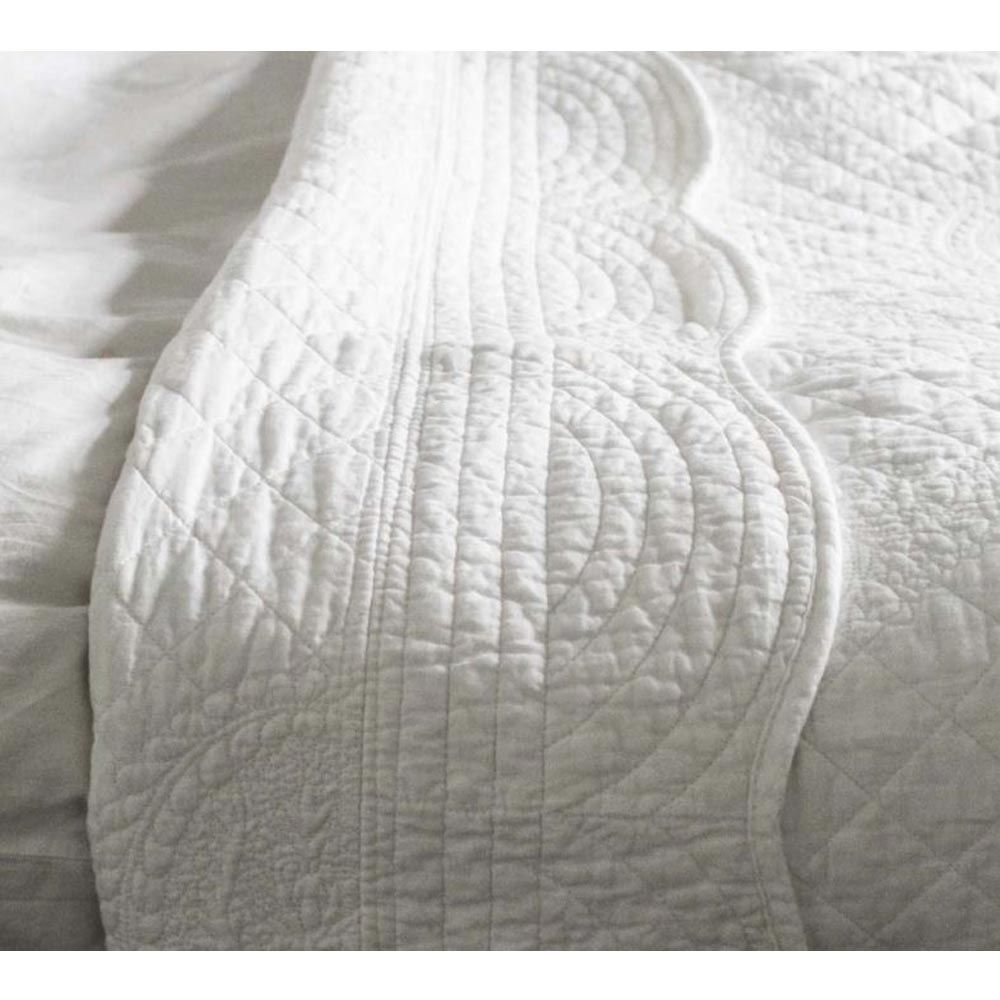 Colette Bouquet White Cotton Quilted Bedspread Luxury Soft Bedroom Blanket In 2020 White Bedspreads White Quilt Bedding Bedroom Blanket