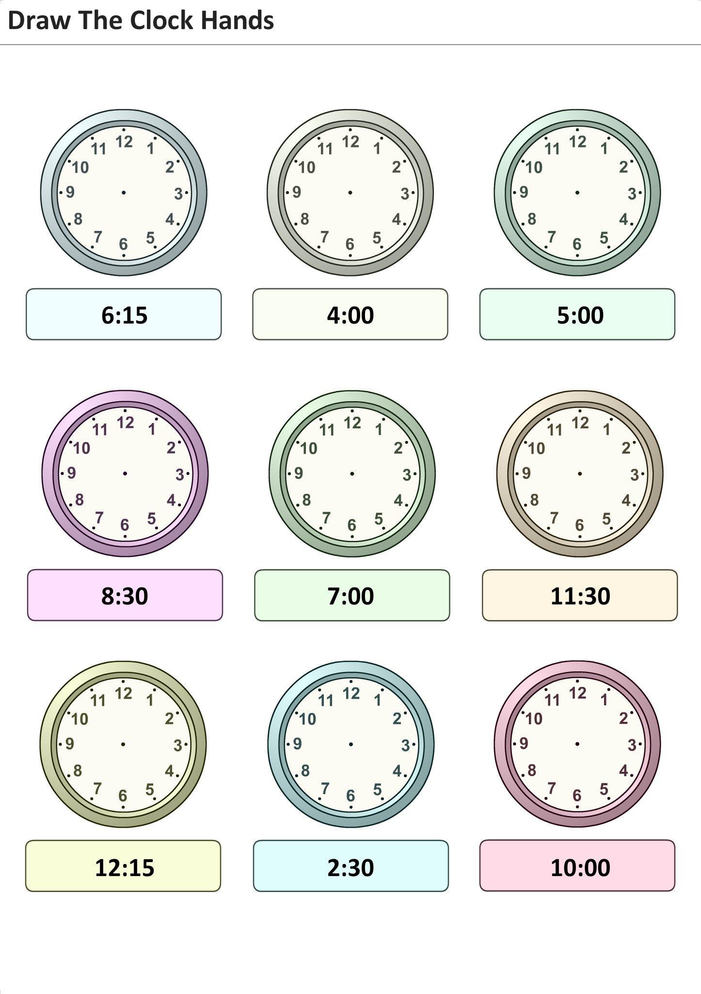 Exercices à imprimer pour les enfants Mettez l'heure sur l'horloge 1 | Exercices pour apprendre ...