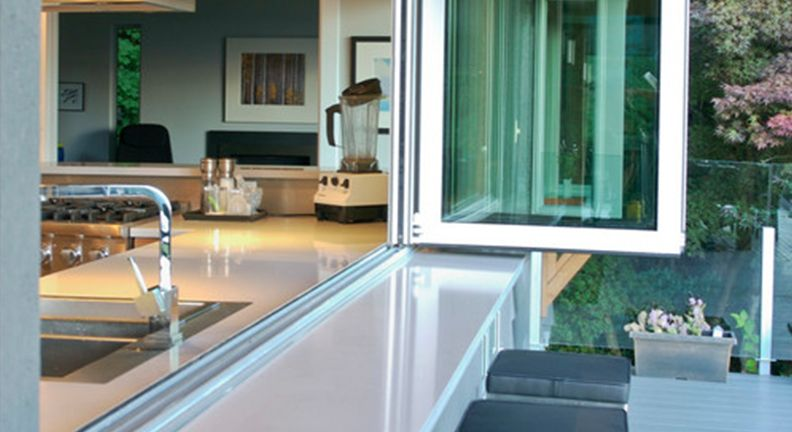 Accordion Window Over Sink In The Kitchen Chat With Guests At Your Bbq