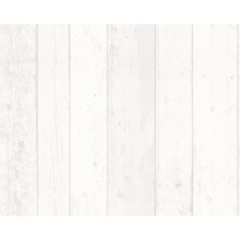 Papier peint vinyle sur intiss planche bois blanc larg for Planche bois leroy merlin