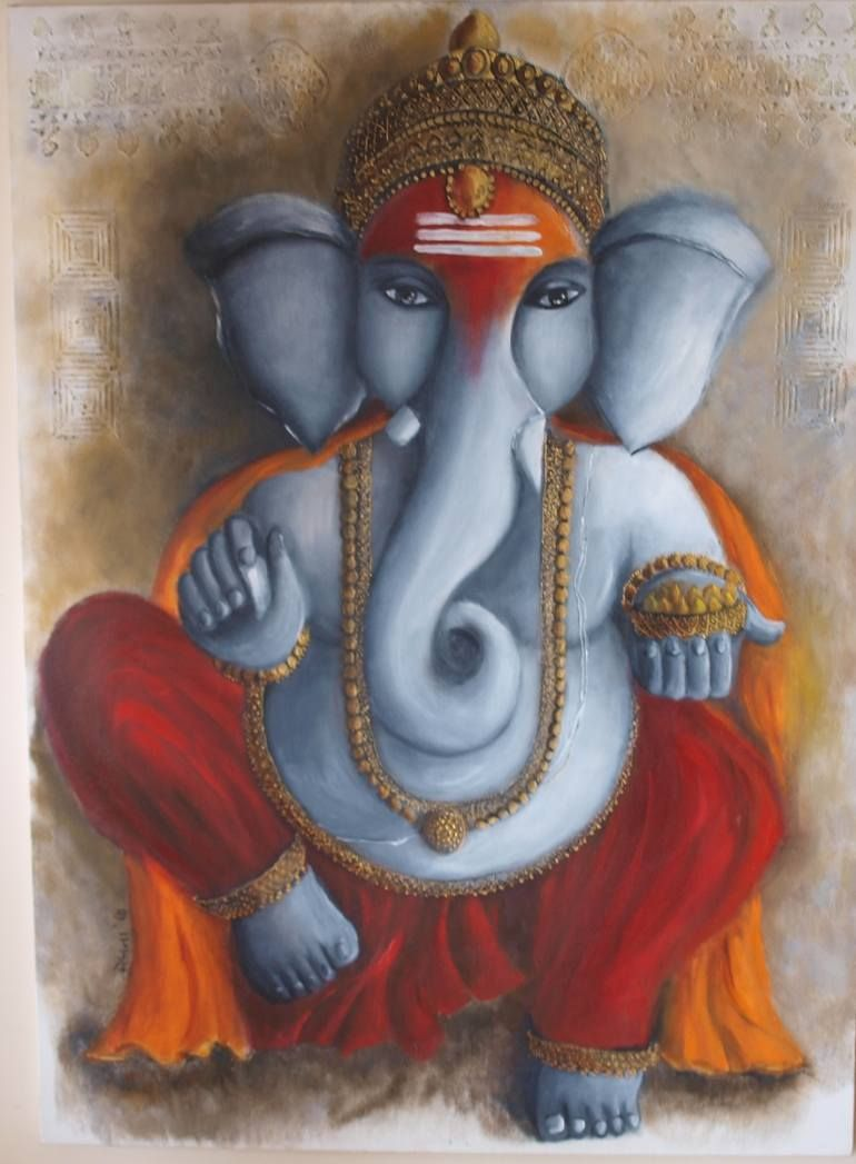 Ganesha Painting Ganesha Painting Ganesha Art Painting Wood Trim