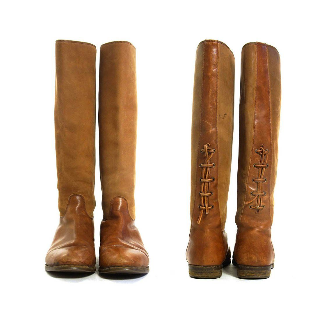 30078b389bb Brown Leather Riding Boots Vintage 90s Timberland Knee High ...