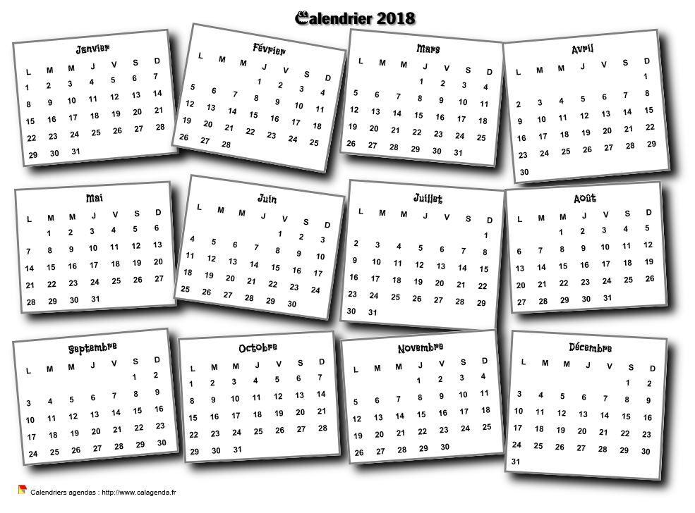 Calendrier 2018 Annuel Pele Mele Calendrier Imprimable