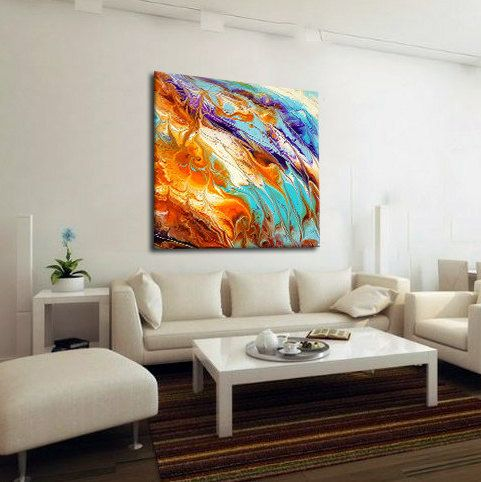 Charming Oversized Abstract Canvas Print, Boho Wall Decor, Pastel, Extra Large Wall  Art, Part 14