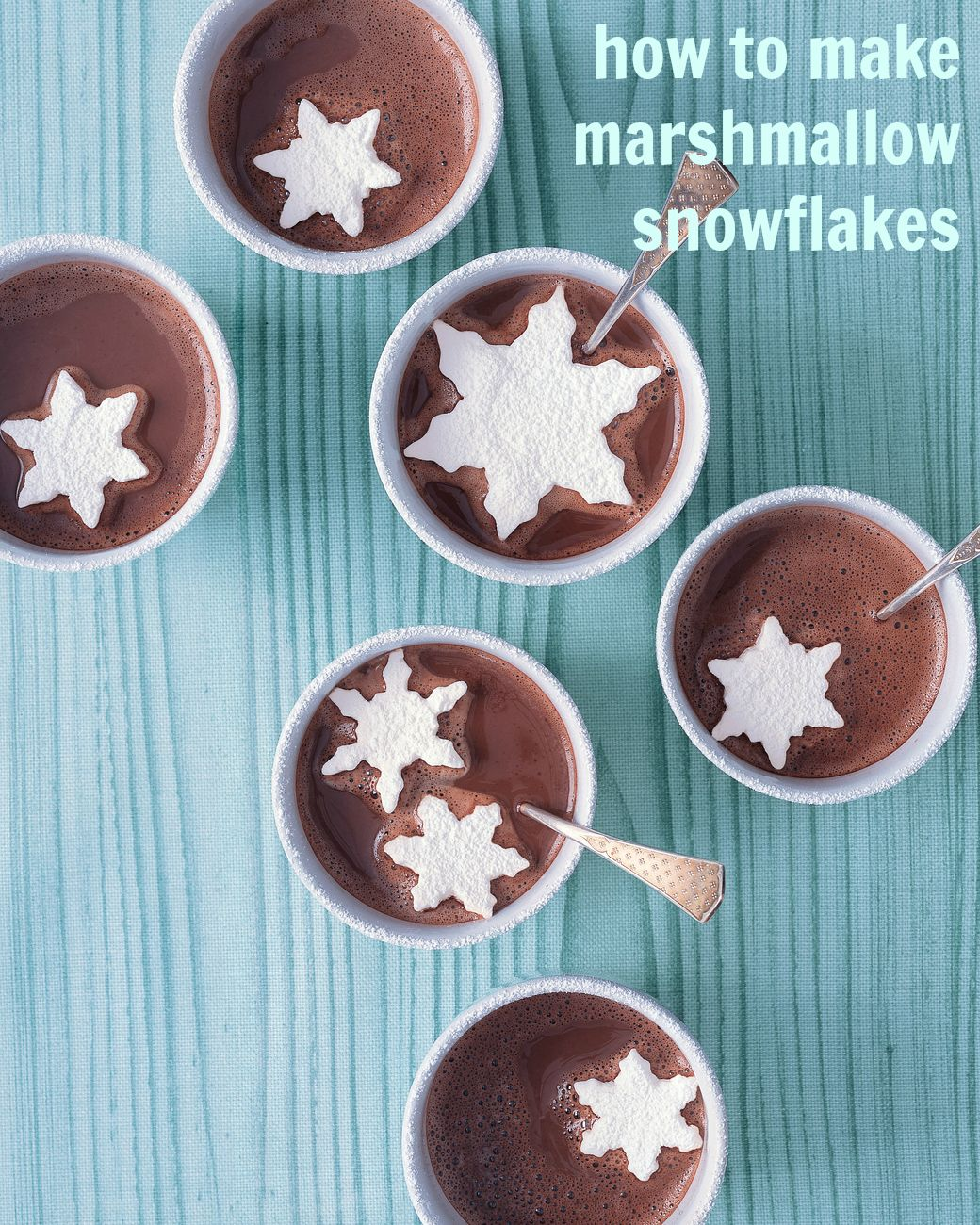 Use a variety of snowflake cookie cutters to turn basic marshmallows into a fun hot cocoa topper.