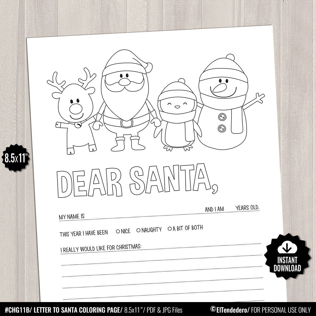 Printable Letter To Santa Coloring Page Christmas Holidays Games For Kids Fill In Gift List Dear Santa C Santa Coloring Pages Printable Letters Santa Letter