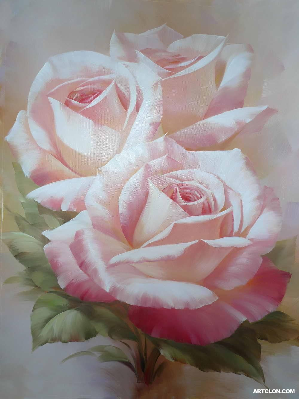 Oil painting flowers roses images for How to oil paint flowers
