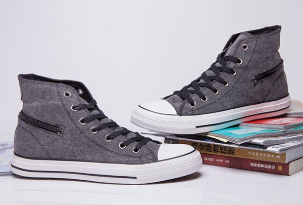 21df2edd566b Grey Converse Side Zip Chuck Taylor All Star High Tops Canvas Shoes   converse  shoes