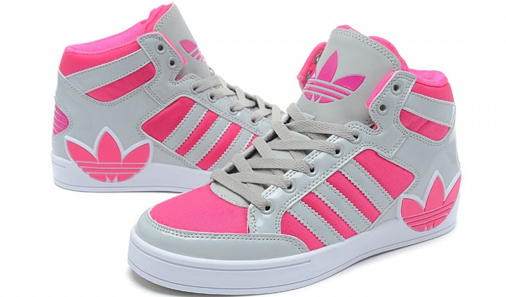online store c285d cc69e Adidas girls High tops pink white and black - Google Search