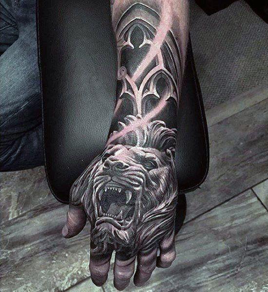 Roaring Lion Guys 3d Hand Tattoos Tatuajes En La Mano Tatuajes Interesantes Tatuajes