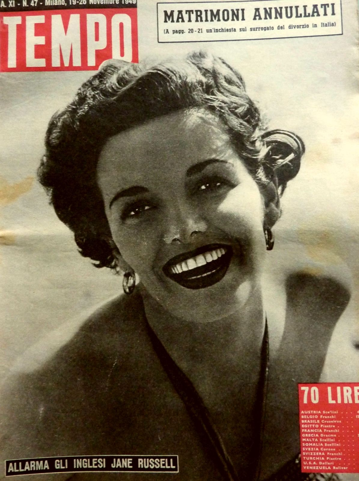 """""""Jane Russell alarms the Britons"""" (19th November 1949)."""