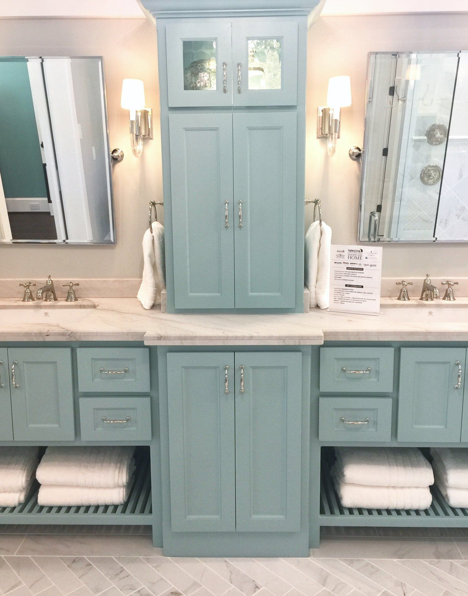 Southern Living Showcase Home   Master Bath With Tiffany Blue Cabinetry