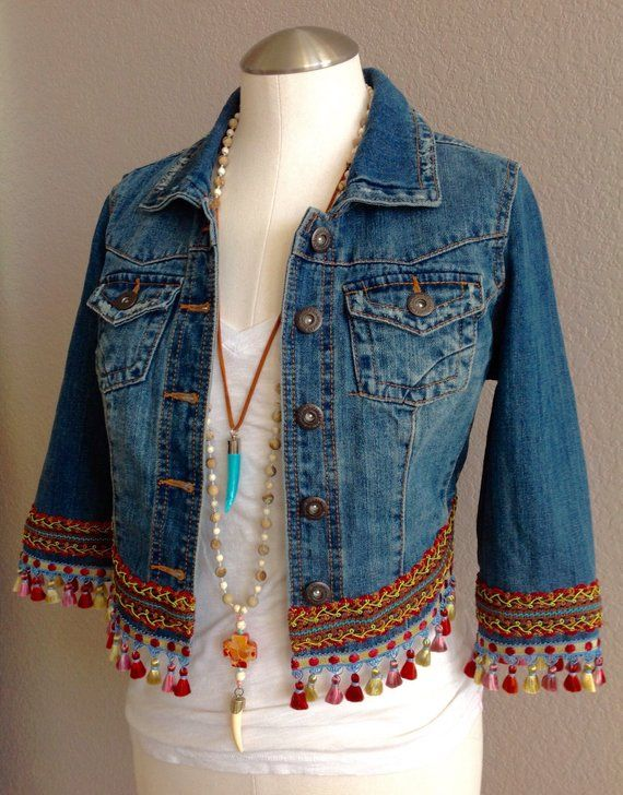 Make a bold fashion statement with this one of a kind embellished upcycled Bohemian style Denim jacket Each and every one of my jackets are special and unique just like y...