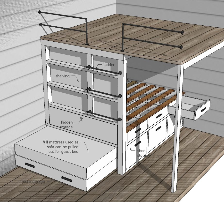 Ana White Tiny House Loft with Bedroom Guest Bed Storage and