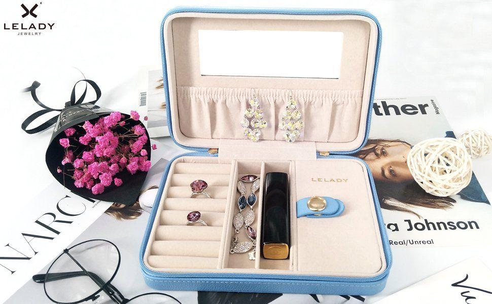 d7c09f536cb890 Amazon|LELADY ジュエリーボックス アクセサリーケース 鏡付き ジュエリー収納ボックス 携帯用 ジュエリーケース