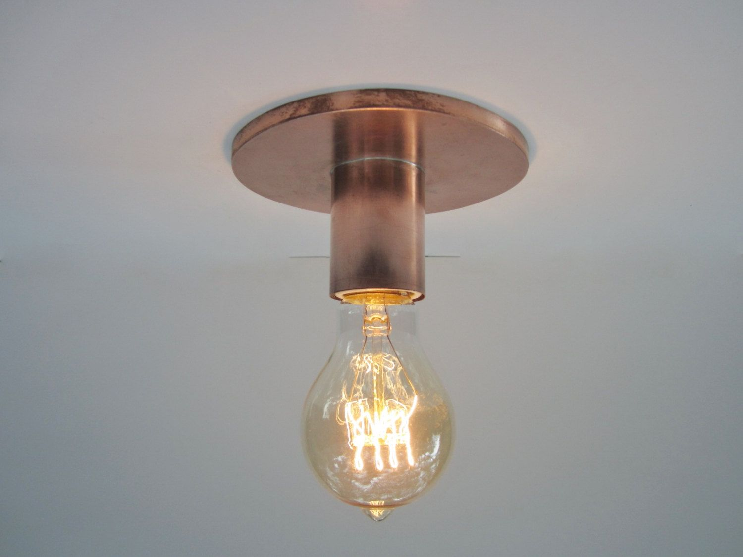 Copper Minimalist Ceiling Light Or Wall Sconce Industrial Etsy Flush Mount Ceiling Lights Exposed Bulb Ceiling Lights