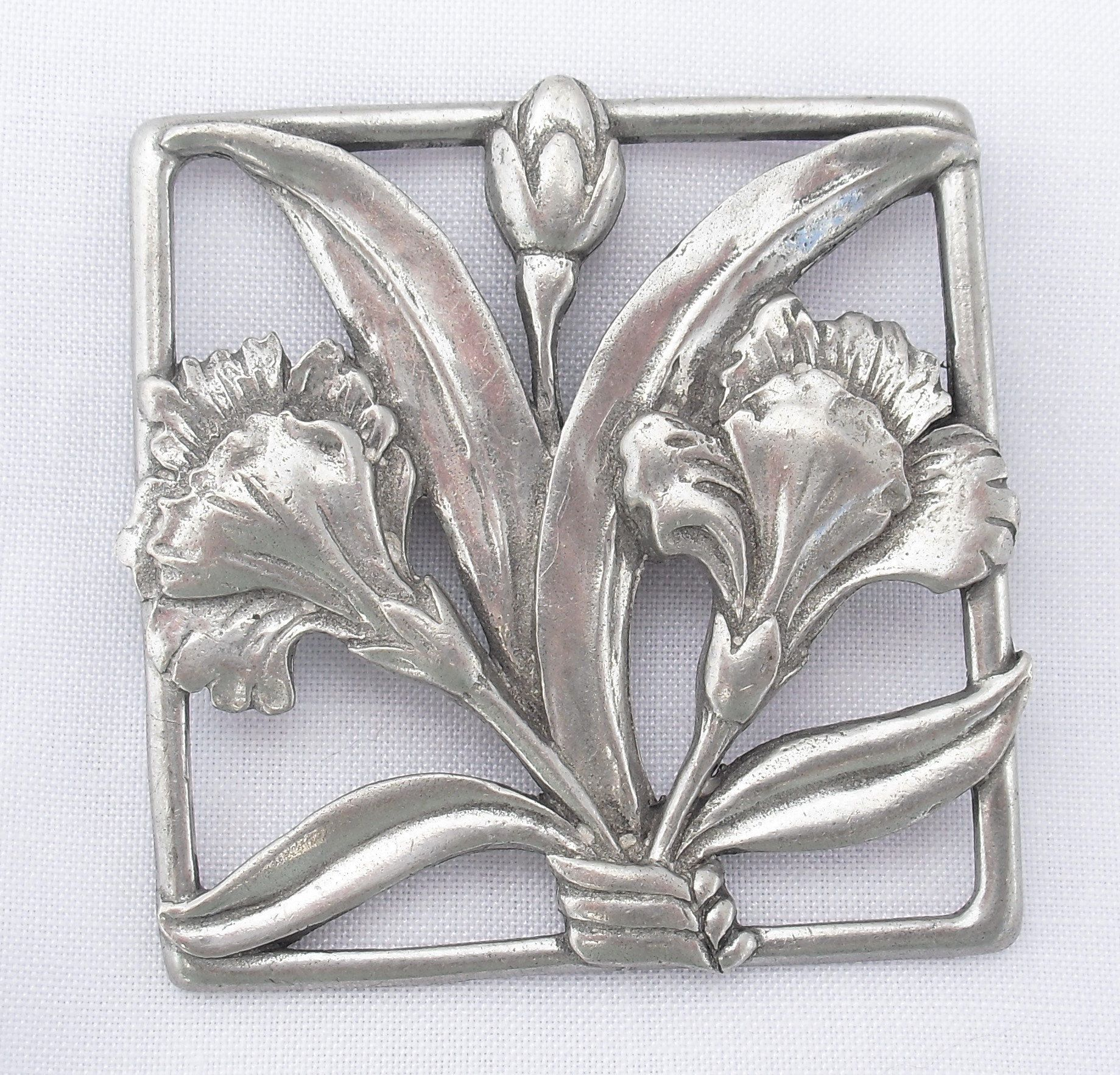 Vintage Orchid Brooch, Seagull Pewter Canada, Art Nouveau