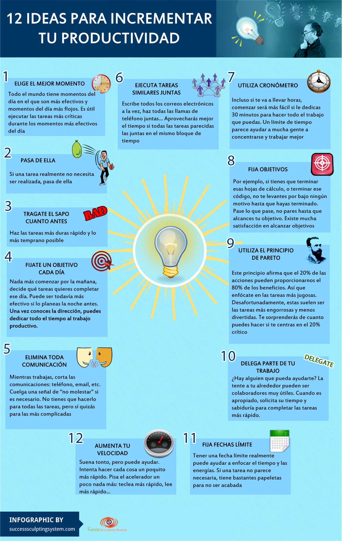 12 ideas para incrementar tu Productividad  Infographics