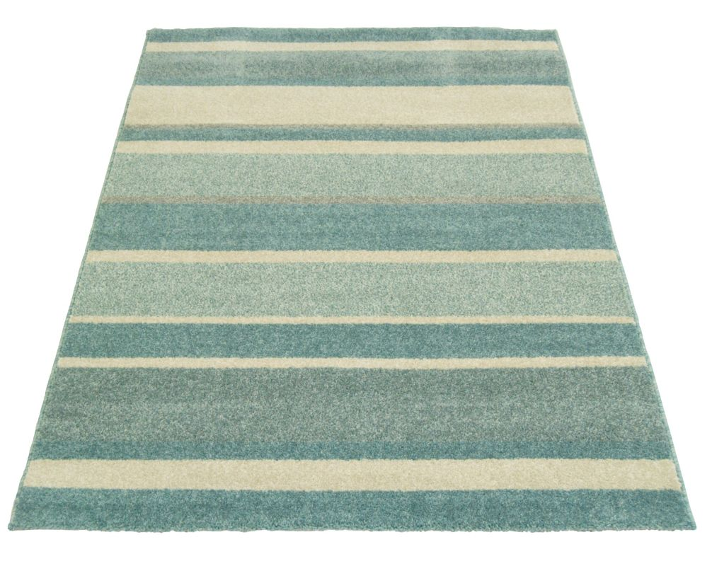 Windsor teal eyelet curtains harry corry limited - Homemaker Duck Egg Stripe Rug 160 X 230cm