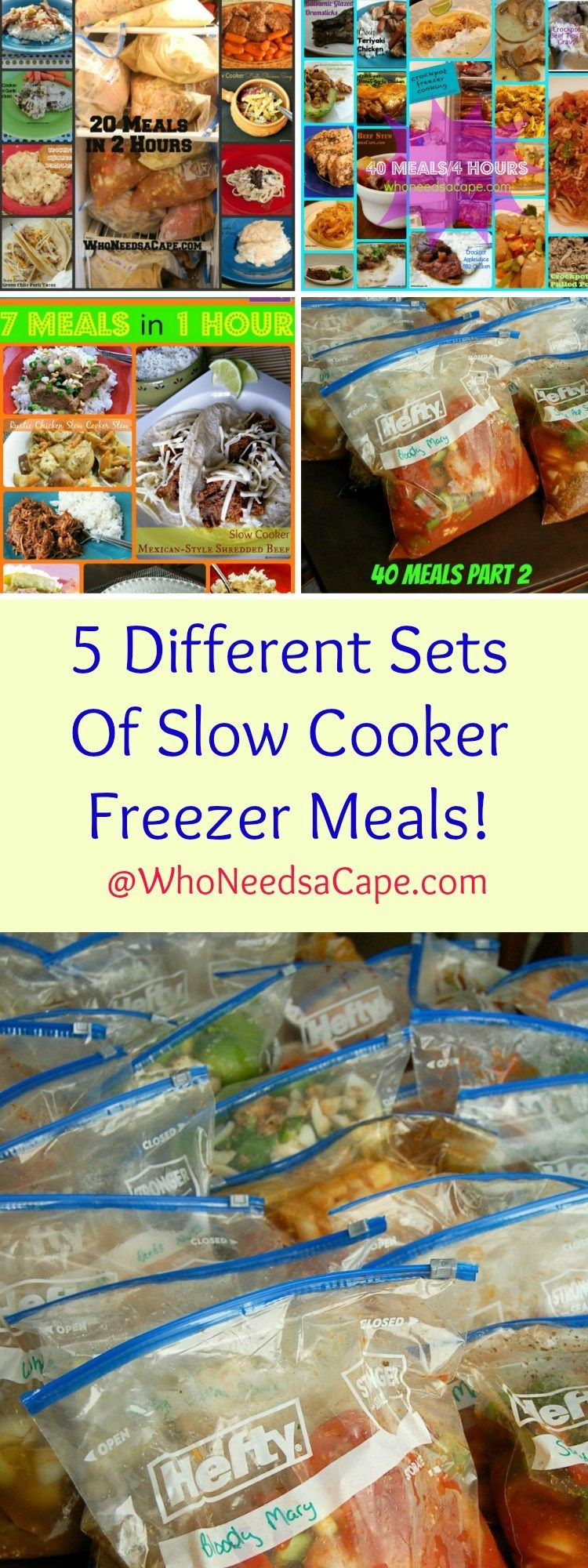 5 Different Sets of Slow Cooker Freezer Meals - Pick which one you'll make 7…
