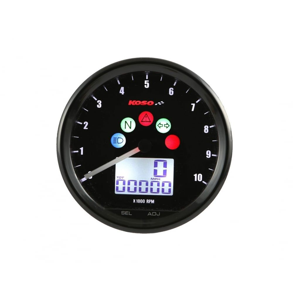 Koso D64 multi-function speedometer and rev counter / tachometer