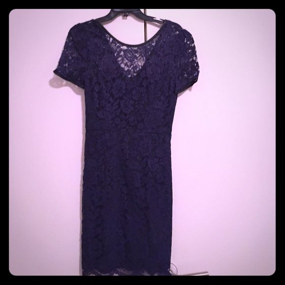 """ABS Trimmed Lace Sheath in purple lace Inverted neckline pleat, back V w exposed back zip. The outline of the dress sleeves and back neckline all leather lined. Lined in satin. About 20"""" from natural waist. Nylon/polyester/spandex. Dry clean only. Size 4. Gently worn but in very good condition w tags ABS Allen Schwartz Dresses"""