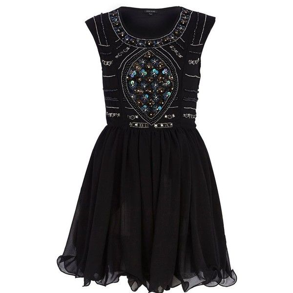 River Island Black sequin embellished prom dress (£20) ❤ liked on ...