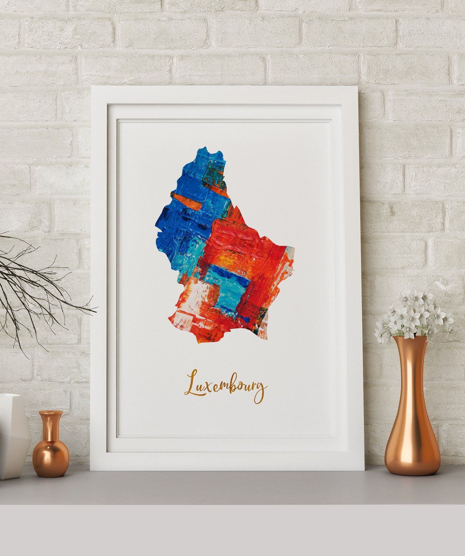 Luxembourg Map art poster print wall decor Travel Map