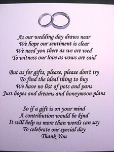 Wording wedding gifts asking money