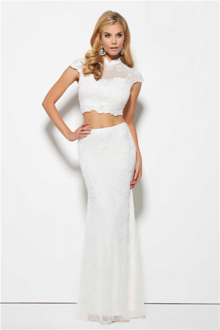 Sexy Mermaid Cut Out Front Open Back White Chiffon Gold Beaded ...