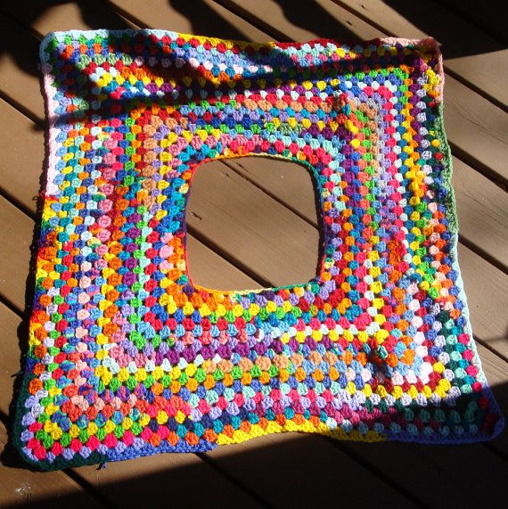 Psychedelic Rainbow Crochet Mini Skirt, Poncho, Scarf, 1960s Created ...