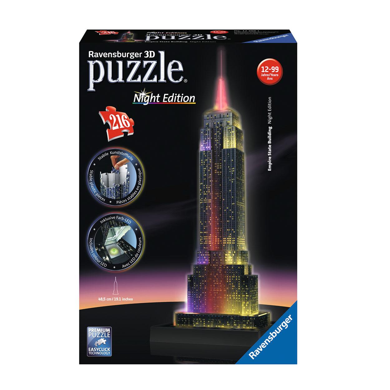Ravensburger 3D Puzzel Empire State Building bij Nacht Afmeting: 7 x ...