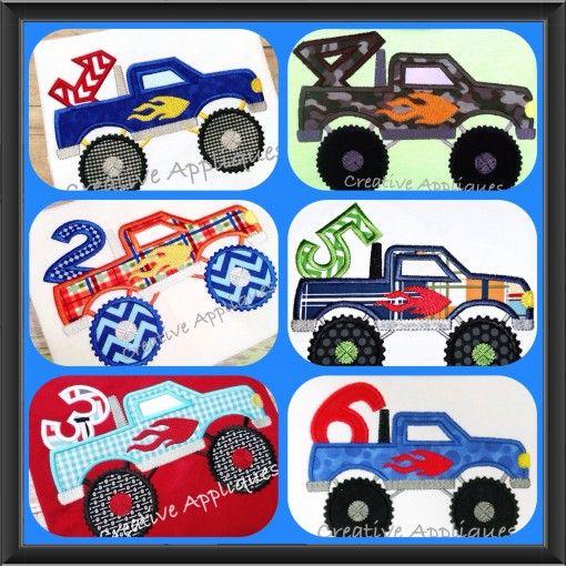 Monster Truck Number Set 1 6 Applique Alphabets