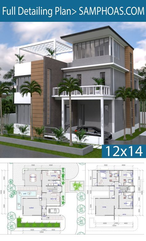 3 Story House Plan 12x14m With 4 Bedrooms Unique House Plans 2bhk House Plan Beach House Plans