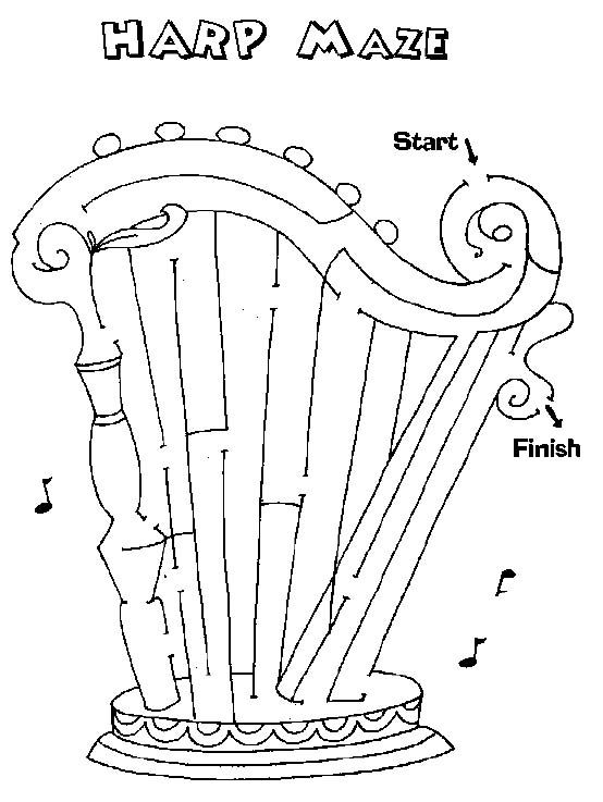 Free Printable Mazes For Kids Mazes For Kids Bible Crafts Harp