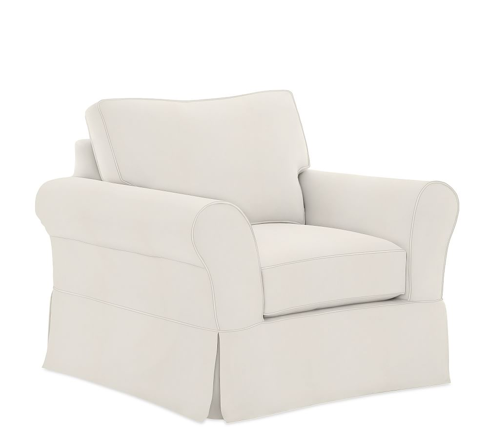 White Slipcover Chair And Ottoman Barrel Back Cane Pb Comfort Roll Arm Slipcovered Grand Armchair 43 Box Edge Down Denim Warm Chairs Living Room Furniture Accent Pottery Barn