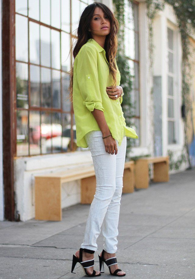 78c41a44cde9 White Jeans Outfit Idea with Bright Colored Blouse and sandals ......wear  with Black Flat sandals or LEOPARD flats instead !!!