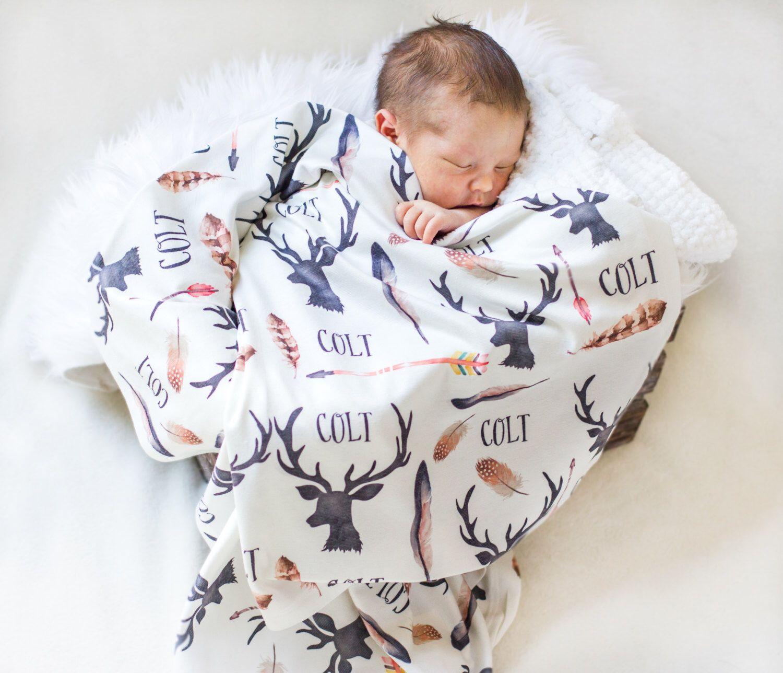 0bf67420 Personalized Baby Blanket-Deer Antlers And Arrows- Boho-Hunting-Nursery-Deer
