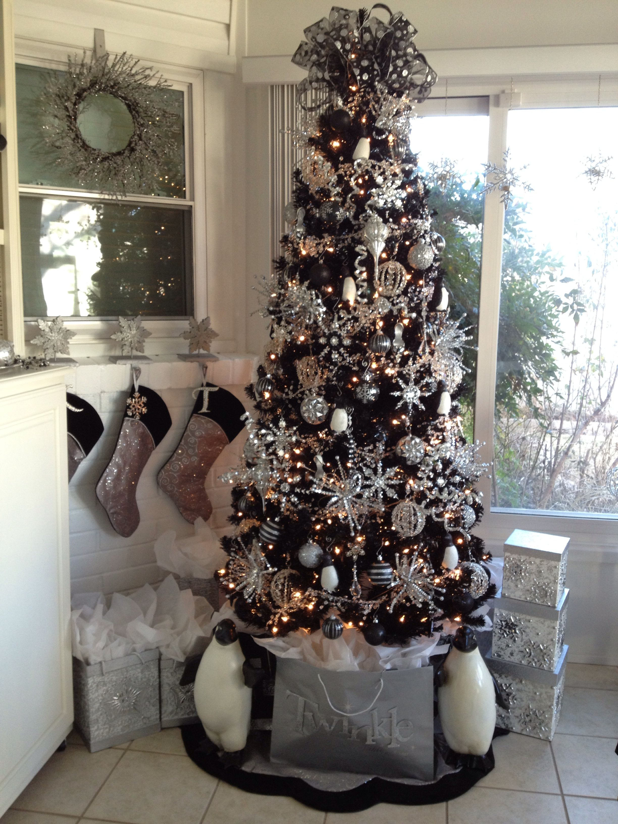 my black and silver christmas tree black christmas decorations black christmas trees black - Black And Silver Christmas Decorations