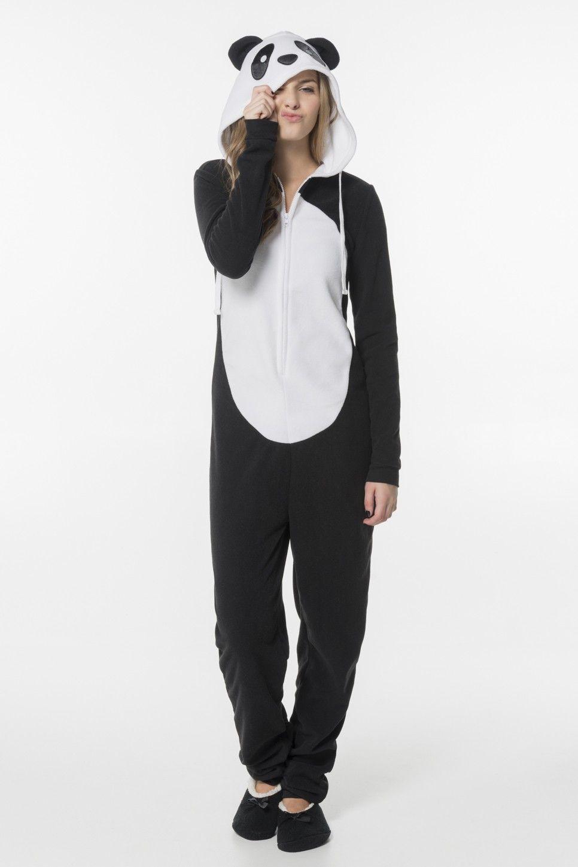 Black Amp White Panda Hooded Fleece Onesie Pjs Amp Robes