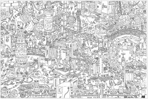 'Cakes', a complex coloring page, 'Where is Waldo ?' style ...