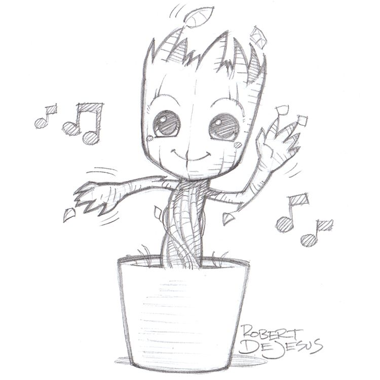Dancing groot by on deviantart for Awesome face drawing