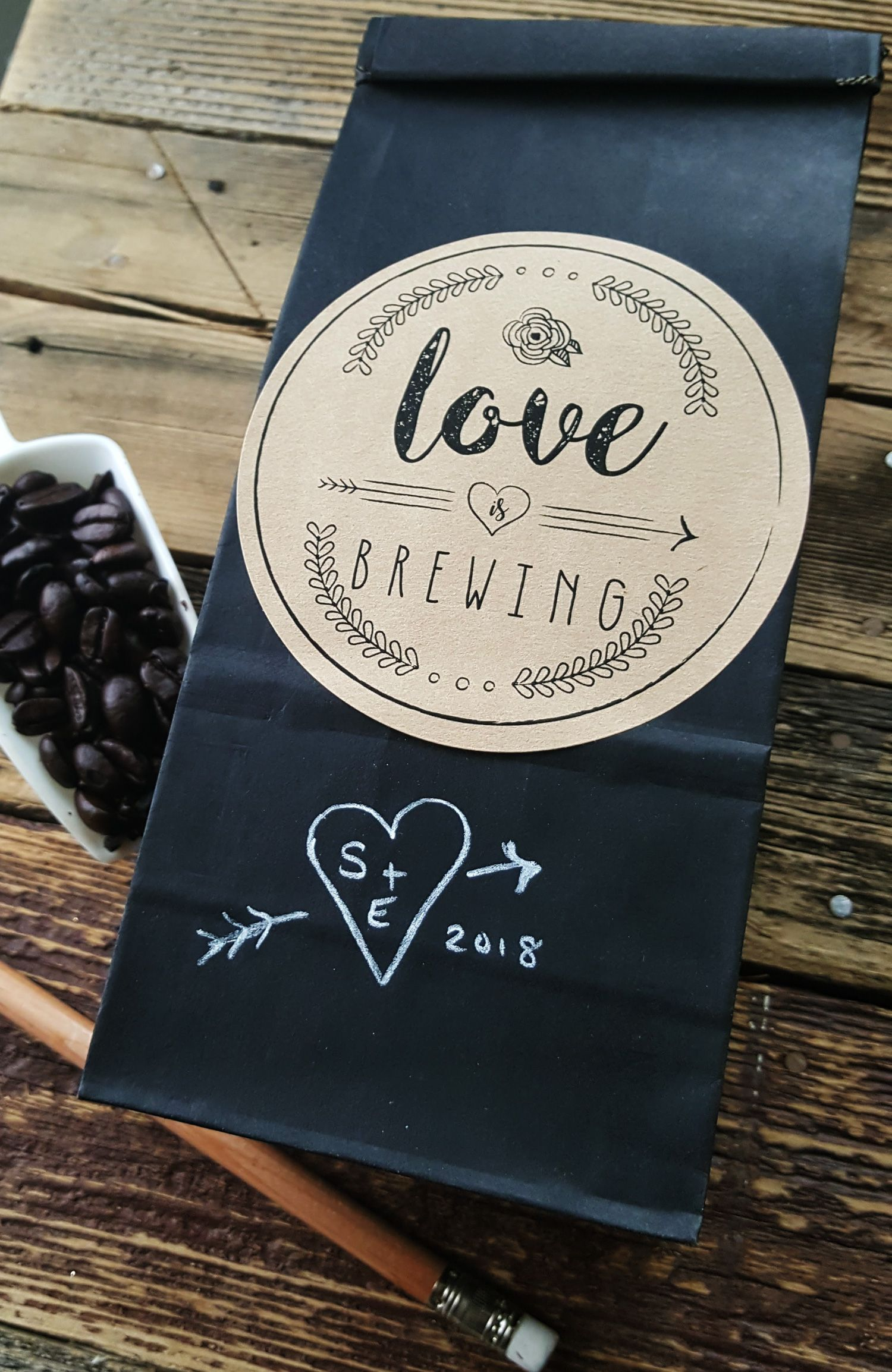 Coffee favor bags for a bohemian or rustic style wedding