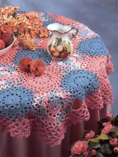 Crochet Pattern - Quick & Easy Round Tablecloth (I\'d use one solid ...