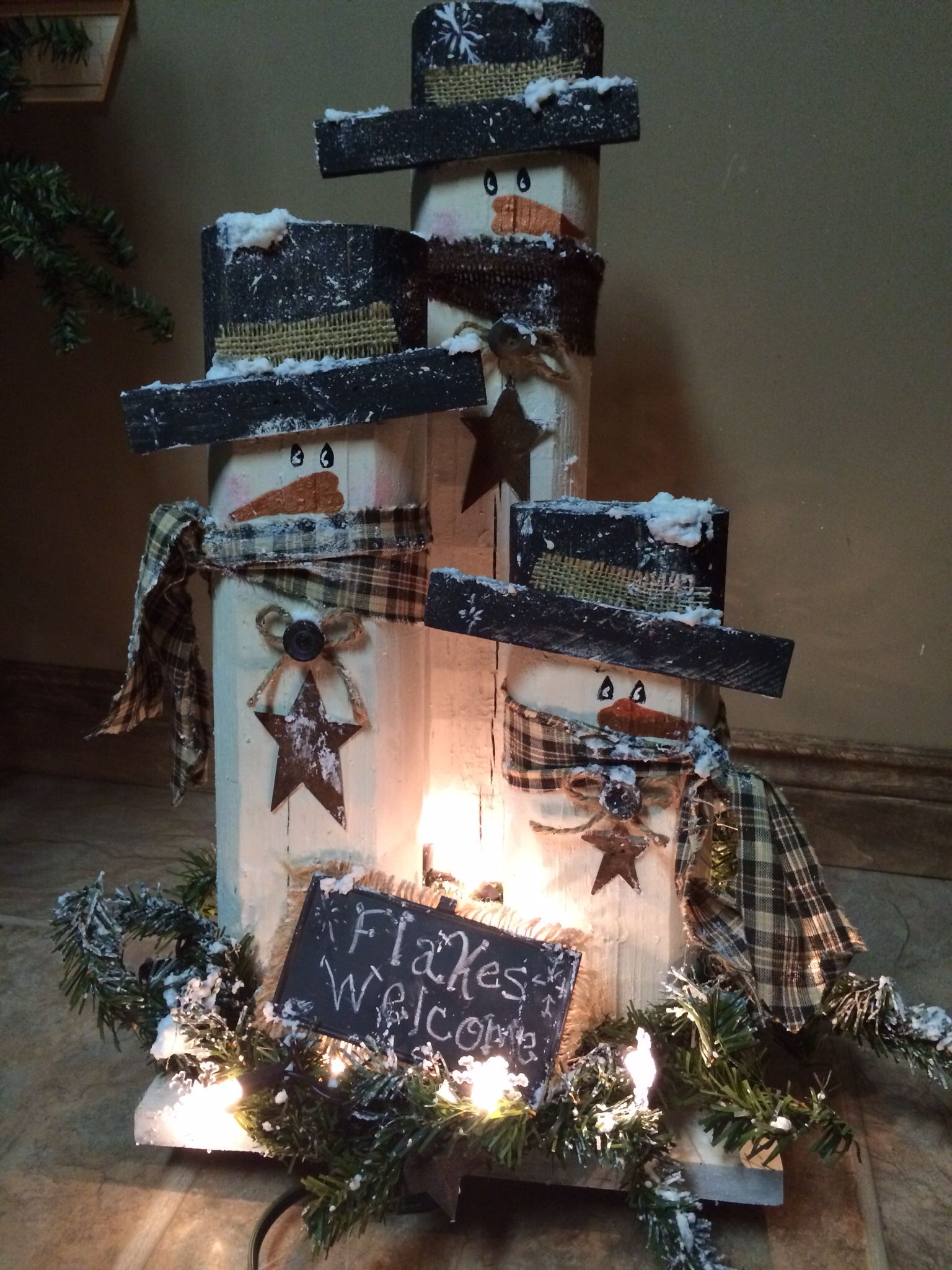 Primitive Christmas Craft Ideas Part - 15: Snowmen--what A Fun Craft To Make With Friends!